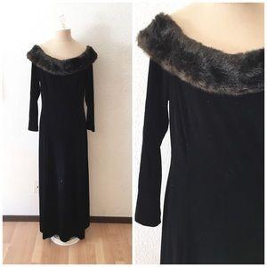 Vintage 90s Black Velvet Fur Collar Occasion Dress